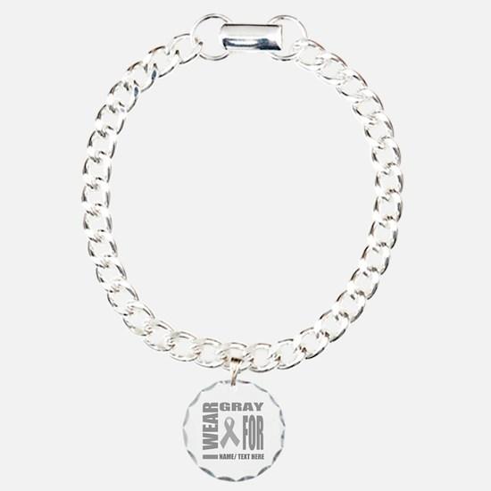 Gray Awareness Ribbon Cu Bracelet