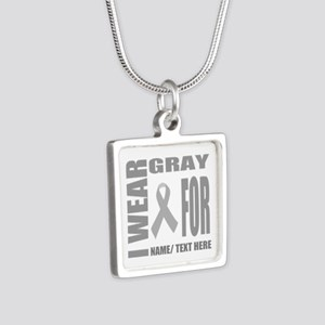 Gray Awareness Ribbon Cust Silver Square Necklace