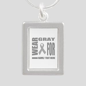 Gray Awareness Ribbon Cu Silver Portrait Necklace