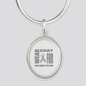 Gray Awareness Ribbon Customi Silver Oval Necklace