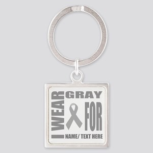 Gray Awareness Ribbon Customized Square Keychain