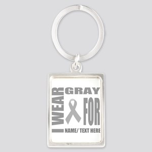 Gray Awareness Ribbon Customized Portrait Keychain