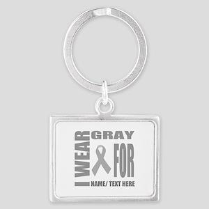 Gray Awareness Ribbon Customize Landscape Keychain