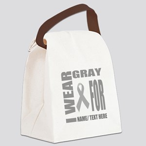 Gray Awareness Ribbon Customized Canvas Lunch Bag