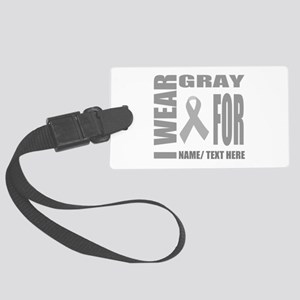 Gray Awareness Ribbon Customized Large Luggage Tag