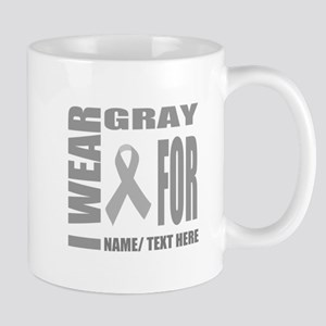 Gray Awareness Ribbon Customized 11 oz Ceramic Mug