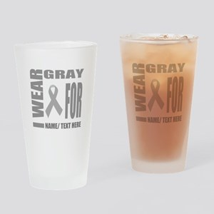 Gray Awareness Ribbon Customized Drinking Glass