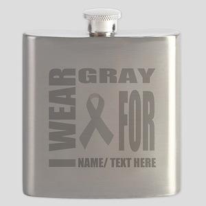 Gray Awareness Ribbon Customized Flask