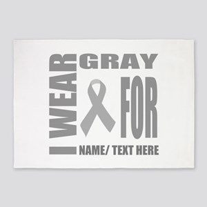 Gray Awareness Ribbon Customized 5'x7'Area Rug