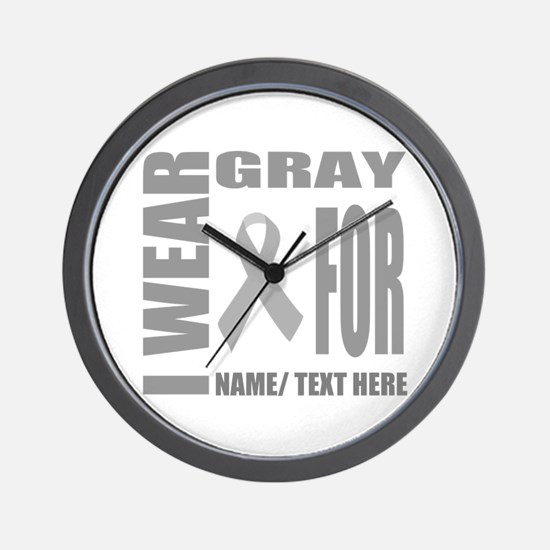 Gray Awareness Ribbon Customized Wall Clock