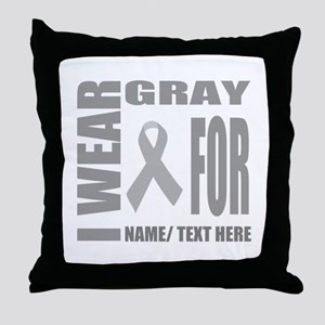 Gray Awareness Ribbon Customized Throw Pillow