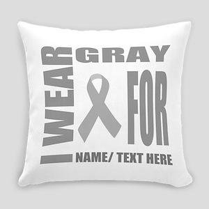 Gray Awareness Ribbon Customized Everyday Pillow