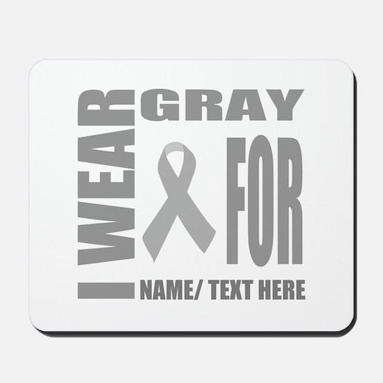 Gray Awareness Ribbon Customized Mousepad