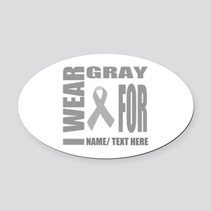 Gray Awareness Ribbon Customized Oval Car Magnet