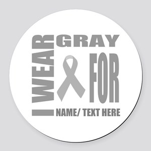 Gray Awareness Ribbon Customized Round Car Magnet