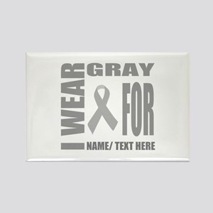 Gray Awareness Ribbon Customized Rectangle Magnet