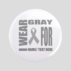 Gray Awareness Ribbon Customized Button