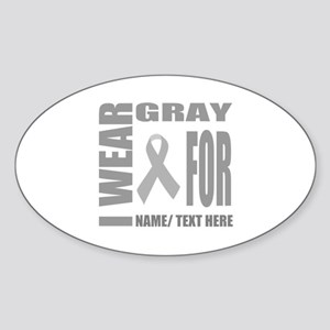 Gray Awareness Ribbon Customized Sticker (Oval)