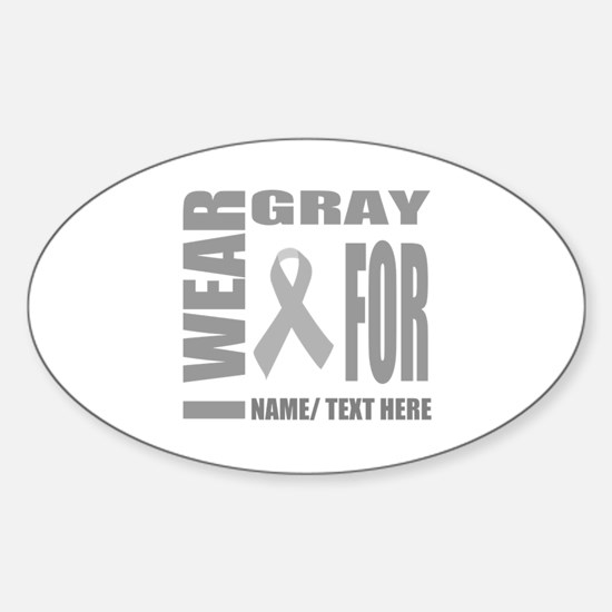Gray Awareness Ribbon Customized Sticker (Oval)