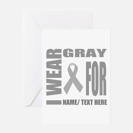 Gray Awareness Ribbon Customized Greeting Card