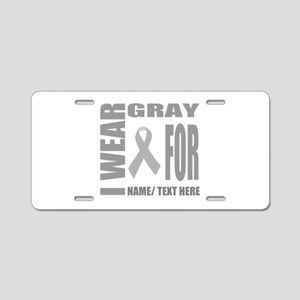Gray Awareness Ribbon Custo Aluminum License Plate