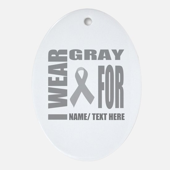 Gray Awareness Ribbon Customized Oval Ornament