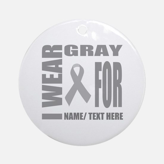 Gray Awareness Ribbon Customized Round Ornament