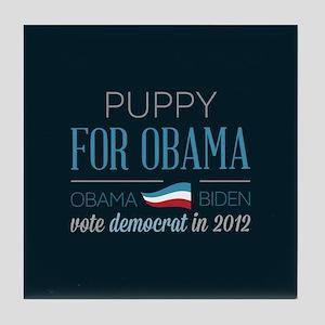 Puppy For Obama Tile Coaster