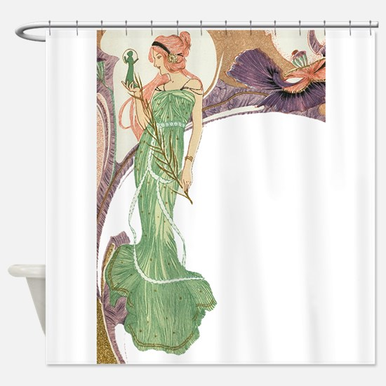 Woman in Green Dress Shower Curtain