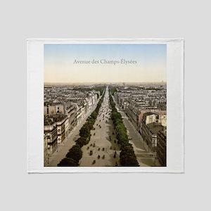 Vintage Champs Elysees Throw Blanket