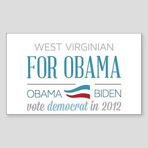 West Virginian For Obama Sticker (Rectangle)