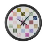 Rainbow Quilt Large Wall Clock