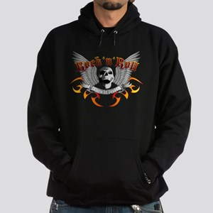 e-guitar rock and roll wing skull Hoodie (dark)