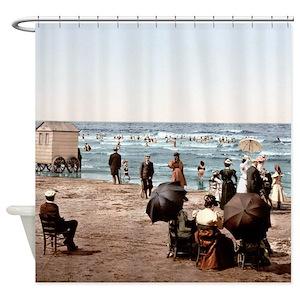 Vintage Women Beach Shower Curtains