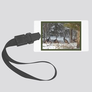 Wild Turkeys Large Luggage Tag