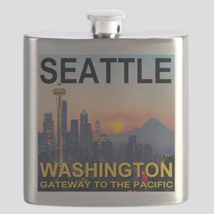 Seattle WA Skyline Graphics Sunset Flask