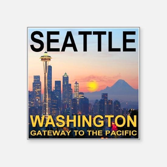 Seattle WA Skyline Graphics Sunset Square Sticker