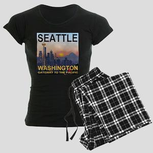 Seattle WA Skyline Graphics Sunset Women's Dark Pa