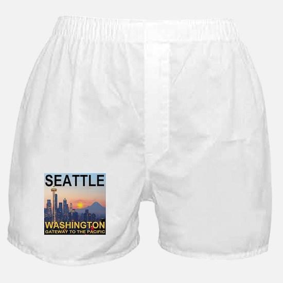 Seattle WA Skyline Graphics Sunset Boxer Shorts