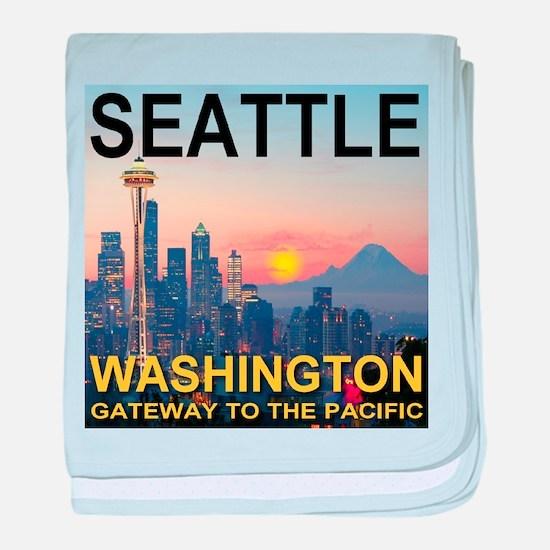Seattle WA Skyline Graphics Sunset baby blanket