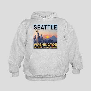 Seattle WA Skyline Graphics Sunset Kids Hoodie