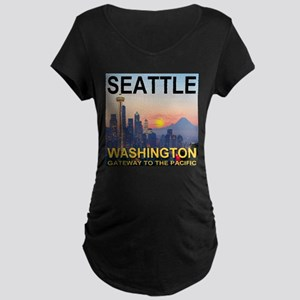 Seattle WA Skyline Graphics Sunset Maternity Dark
