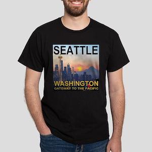 Seattle WA Skyline Graphics Sunset Dark T-Shirt