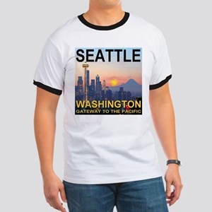Seattle WA Skyline Graphics Sunset Ringer T
