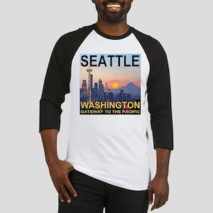 Seattle WA Skyline Graphics Sunset Baseball Jersey