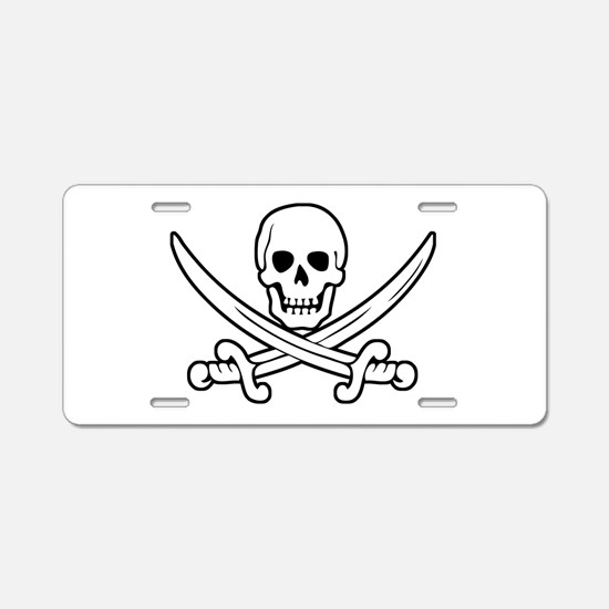 White Calico Jack Aluminum License Plate