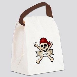 Personalized Pirate Skull Canvas Lunch Bag