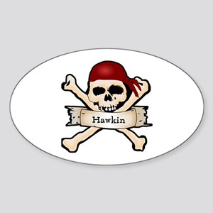 Personalized Pirate Skull Sticker (Oval)