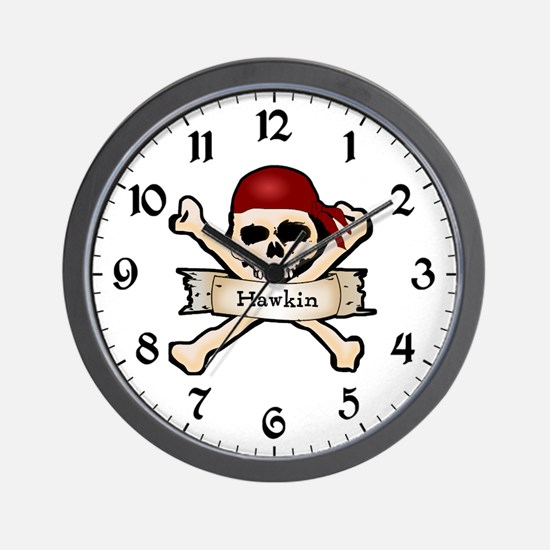 Personalized Pirate Skull Wall Clock