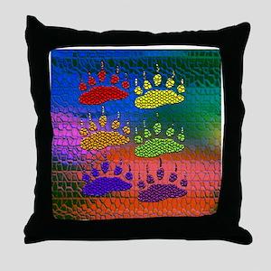 RAINBOW BEAR PAWS ON RAINBOW Throw Pillow